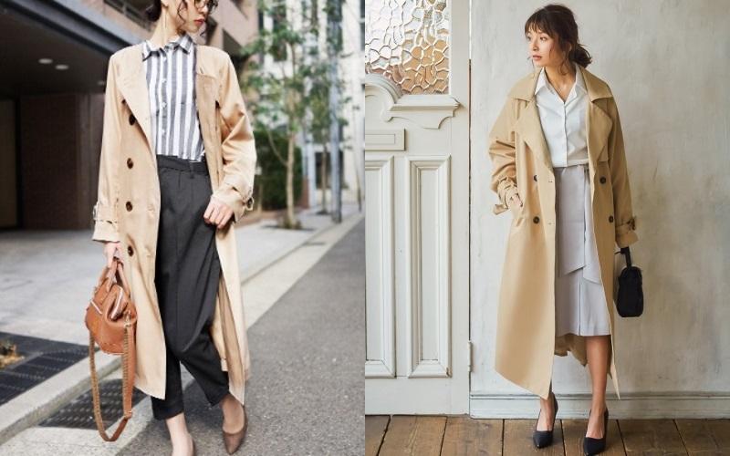 春のトレンチコートを使った40代女性の通勤ファッション