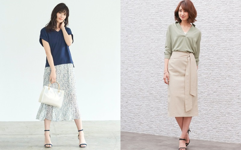 夏の40代アラフォー女性の通勤ファッション・スカート