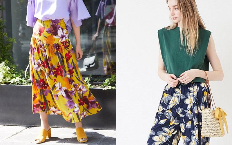 この夏40代が履いて輝く「花柄ロングボトムス」☆ベースカラー別