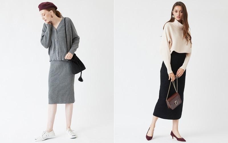 黒とグレーの「スカート」で作る40代の【最旬モノトーンコーデ】♡
